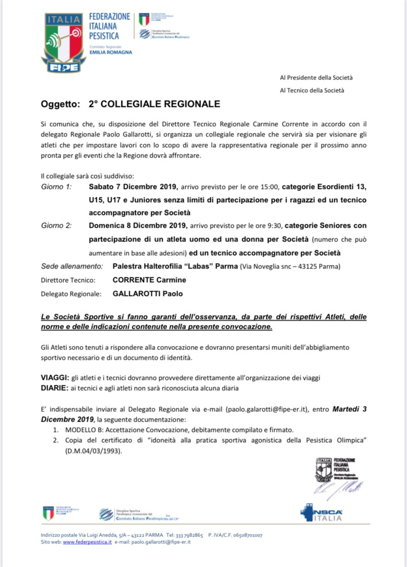 FIPE: Convocazione 2′ Collegiale Regionale – sabato 7 dicembre 2019 Parma