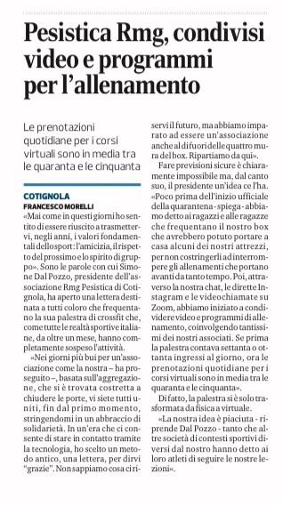 Corriere Romagna – Pesistica RMG, condivisi video e programmi per l'allenamento