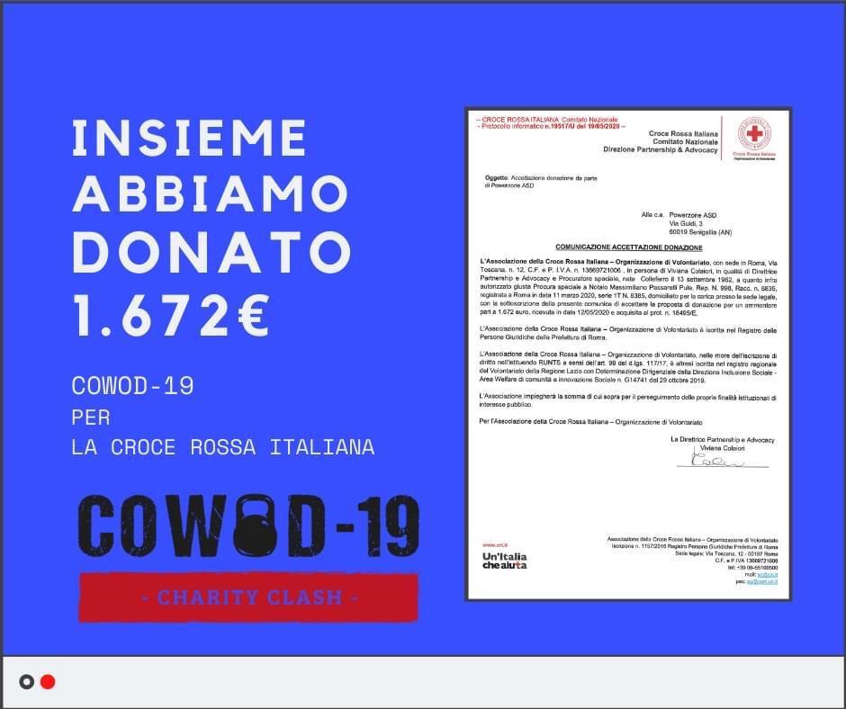 COWOD19 – INSIEME ABBIAMO DONATO 1.672 euro