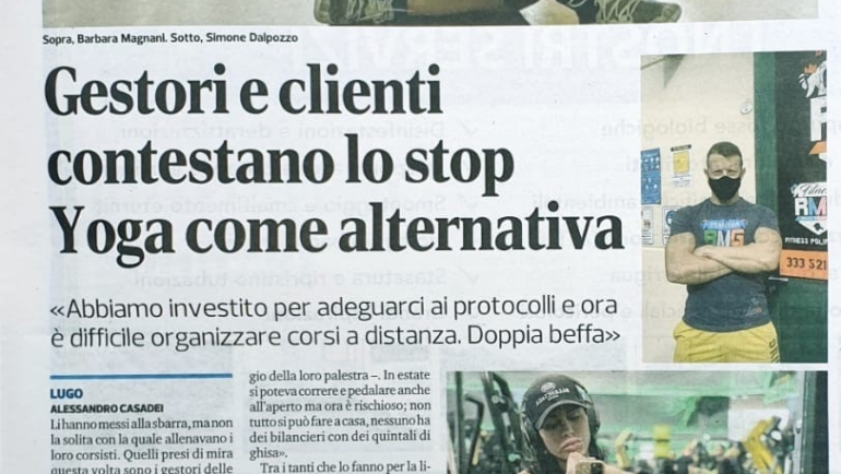 """Corriere Romagna – 29 ottobre 2020 """"Gestori e Clienti contestano lo Stop"""""""